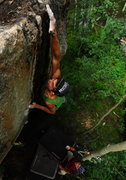 Rock Climbing Photo: Josh manhandling Dirty Business.