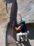 Rock Climbing Photo: Setting up the first move, a dyno