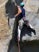 Rock Climbing Photo: Second bolt of Upton Sinclair. Roy on F.A.