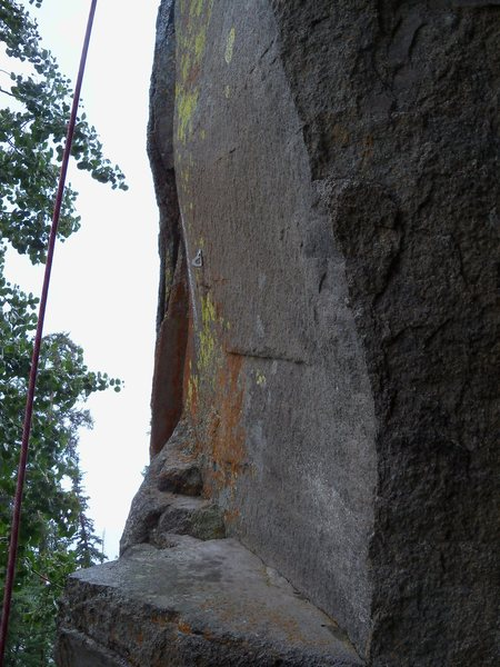 Rock Climbing Photo: Unusual move to clip first bolt