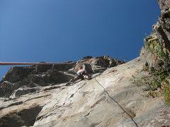 Rock Climbing Photo: Oscar nearing the roof on Honeypepper