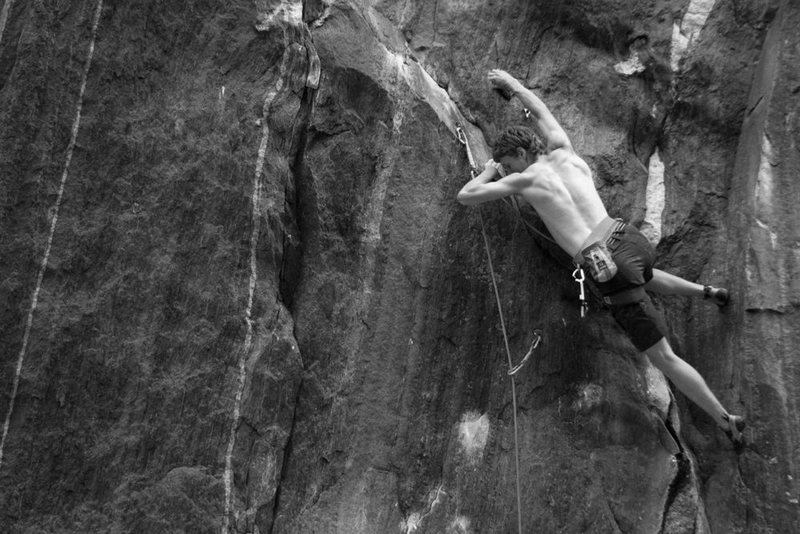 Rock Climbing Photo: otey heading in to the crux...