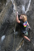 Rock Climbing Photo: lily clipping the last draw on Suburban