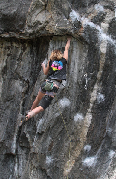 Rock Climbing Photo: lily hitting the jug after doing a bit of 5.12 int...