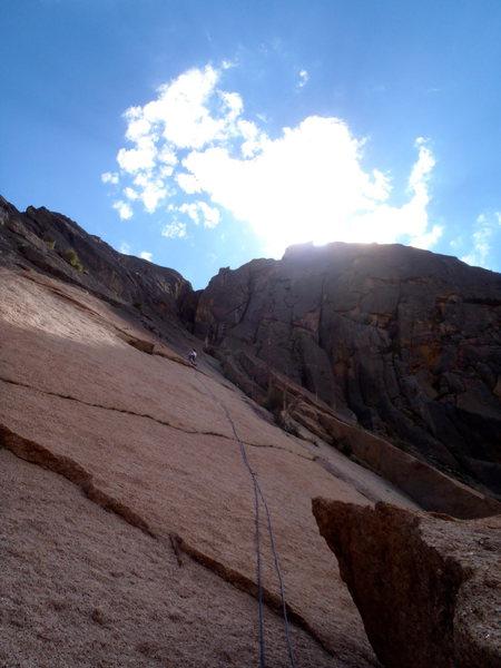 Rock Climbing Photo: Drew setting up the first belay.