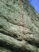Rock Climbing Photo: The middle of the route. The first and last 7 feet...