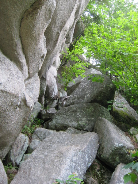The scramble up to the cave