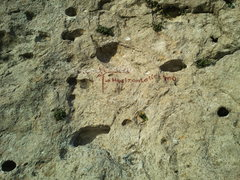 Rock Climbing Photo: the label. The name underneath and drawing show ho...