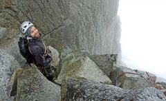 Rock Climbing Photo: A very wet rappel back into the moat at the base o...