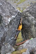 Rock Climbing Photo: Todd Helgeson on Rock Biter V8