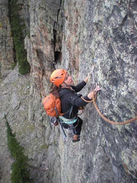 Rock Climbing Photo: Sara climbing past the last bolt on Pitch 1 of 'Pa...