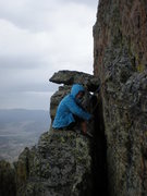 Rock Climbing Photo: Sara happily belaying in the rain on the '5.10 led...