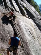 Rock Climbing Photo: Mary cruising the first moves on Squatters Rights