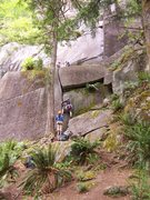 Rock Climbing Photo: Casey starts up the 5.8 entry to the GNS