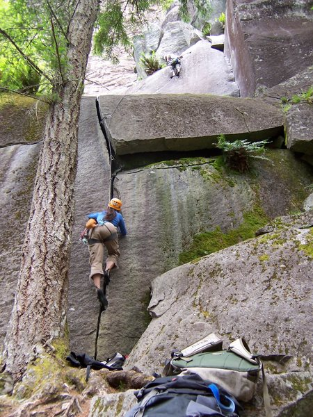 Rock Climbing Photo: following the opening moves to the ledge.  climber...