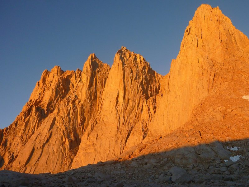 Mt Whitney at sunrise.   East Buttress is clearly visible on the right side of the picture.