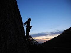 Rock Climbing Photo: Kylie doing some night climbing.