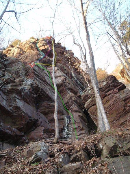 Rock Climbing Photo: P1 - Green to the chains.  Original P2 follows Yel...