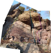 Rock Climbing Photo: Compilation photo of Obnoxious Partner (purple), D...