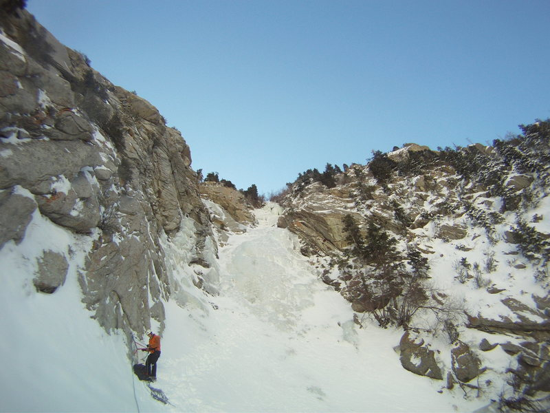 Top of the great white icicle feb 2011 belay