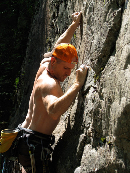 A photo that's not just a butt-shot, thanks to Alice.  BSIAGE is an infrequently visited, but oh so fun sport route at the New River Gorge, WV (2010).