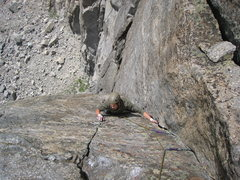 Rock Climbing Photo: The thank God stance at the top of pitch 3.