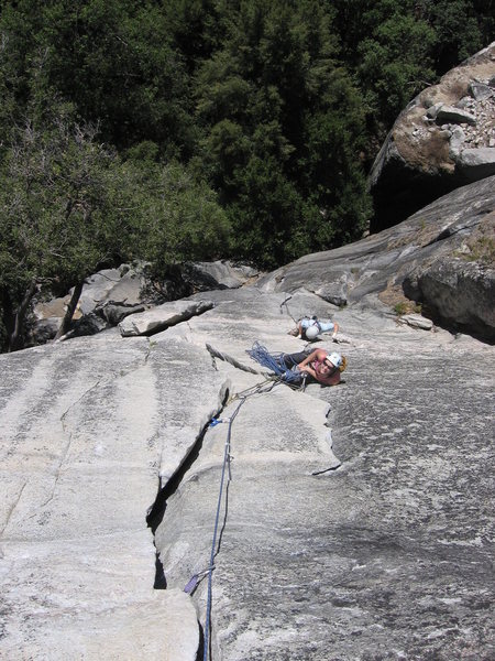 The optional belay on bishop's terrace. I remember that flake being pretty wobbly. Might be better to just keep climbing.