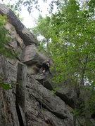 "Rock Climbing Photo: Joshua on the crux of ""Centerfold."""