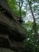 """Rock Climbing Photo: Joshua Corbett on the upper part of """"Out of R..."""