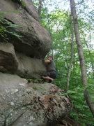 "Rock Climbing Photo: Joshua Corbett approaches the crux of ""Out of..."