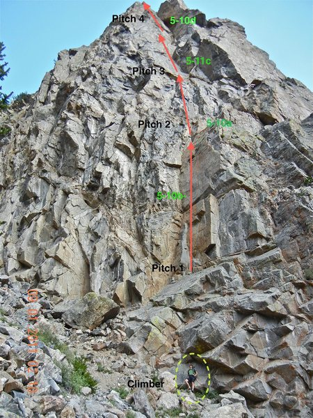 "Top 2 pitches ""Nearer to Thee"". The two lower pitches are 5.10 a,b@SEMICOLON@ the middle is a 5.11c@SEMICOLON@ the top pitch is very entertaining 5.10d. These are real ratings, Mark and Richard did a great job. There are many climbs next to this one, and they are all top notch."