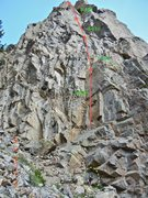 """Rock Climbing Photo: Top 2 pitches """"Nearer to Thee"""". The two ..."""