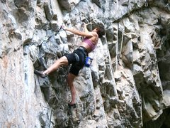 Rock Climbing Photo: Diana Rogers clipping and sending!.