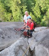 Rock Climbing Photo: One of several belay stations at the top of pitch ...