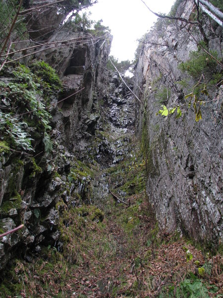 Rock Climbing Photo: The Green Gully This is a very foreshortened image...