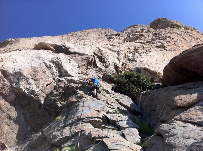 Rock Climbing Photo: 1st pitch just below crux.  John Herrara