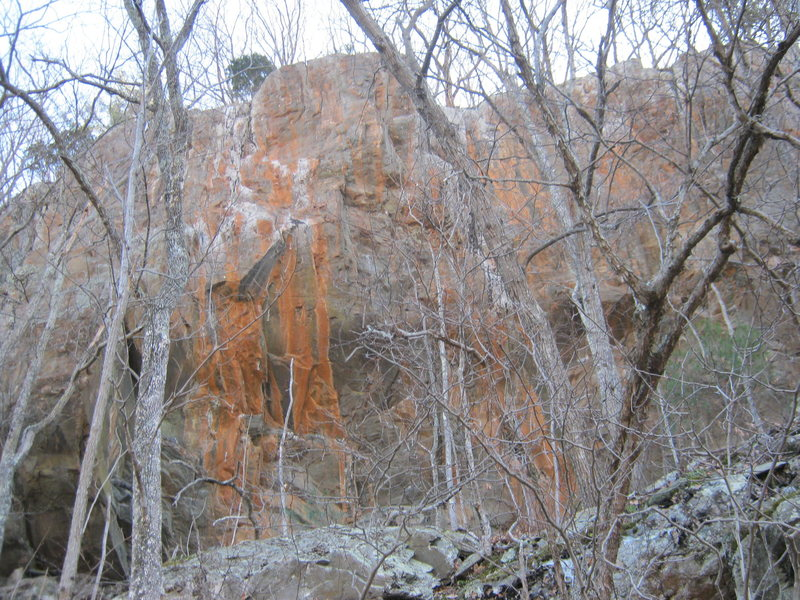 Rock Climbing Photo: Main stretch of cliffs across small gorge from Big...