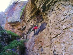 Rock Climbing Photo: Rich Strang fighting the war on choss.  This secti...