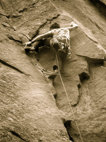 Moving into the blind arete move.