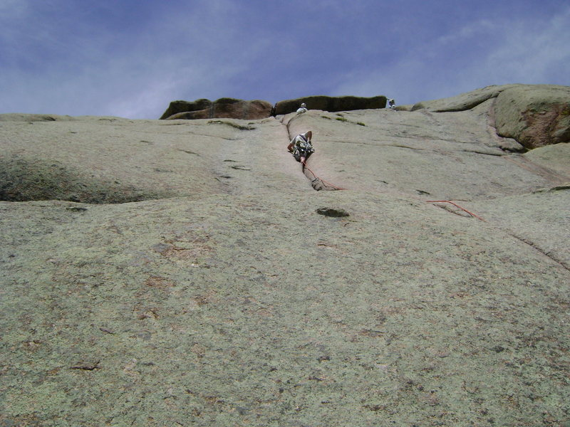 Rock Climbing Photo: I'm leading up the first pitch.  Above me is the b...