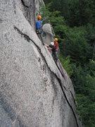 Rock Climbing Photo: Green Mountain Boys replacing the anchor on the Gi...