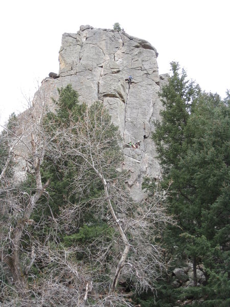 Empor<br> Rick (R Klass) and I are at the second belay point.  Above us you can see the leader for the party ahead starting the third pitch.  Thank you Shelly for this picture.