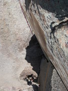 Rock Climbing Photo: Jake following P1. The pic makes it look crazier t...