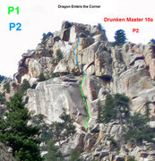 Rock Climbing Photo: This shows P2 of Drunken Master as veiwed from dow...