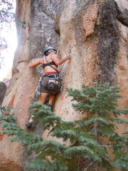 Rock Climbing Photo: Joan leading Damsel in Distress.