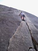 Rock Climbing Photo: Dinkum Crack (5.9) Cosumnes River Gorge, Californi...
