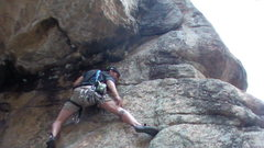 Rock Climbing Photo: At the crux. heading to the flake.