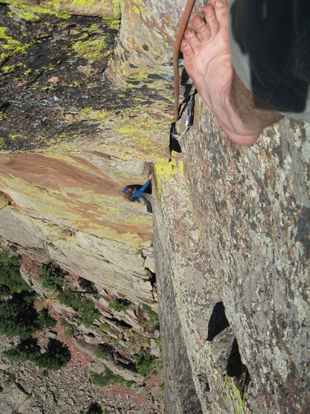 Rock Climbing Photo: Nicholas Patterson liebacking up to the roof on pi...