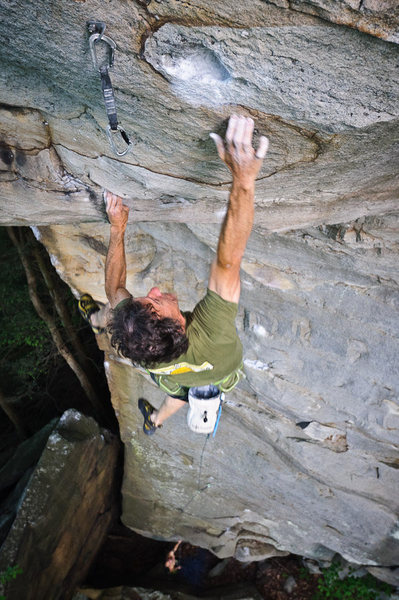 "Russ Clune on the crux dyno of ""Fuel Injector""."