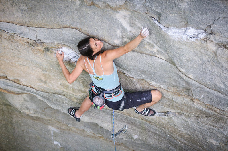 "Rock Climbing Photo: Birdie on the lower slab of ""Fuel Injector&qu..."